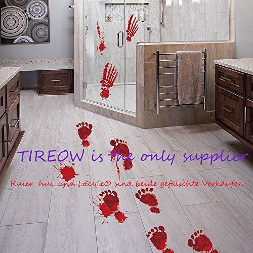 TIREOW_Halloween 1 Realistisch Wirkende Schaurig Blutige Sticker/Aufkleber-Halloween Dekoration, Rot, Größe: 23x35cmx4pcs
