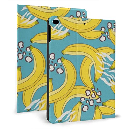 GOSMAO iPad Case Fit iPad 7th Generation 2019, iPad 10.2 Case Banana On Blue Background PU Leather Business Cover with Stand Pocket and Auto Wake/Sleep for iPad 10.2'
