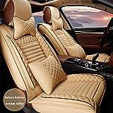 適用 マツダMazda Mazda3 車用 シートカバー レザー 防水 エプロンタイプ 前席 運転席 助手席 後部座席 5席 ヘッドレストとランバーサポート付き クリーム色