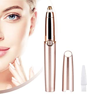 Eyebrow Hair Trimmer for Women, Geecol Eyebrow Remover Painless Facial Brows Hair Removal with LED Light for Good Finishing and Well Touch (Rose Gold) (Battery type)