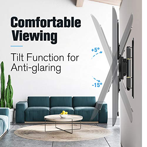 Mounting Dream UL Certificated TV Mount for Most 26-55 Inch TVs, Full Motion TV Wall Mount with Perfect Center Design on Single Stud Articulating Mount Max VESA 400x400mm up to 77 LBS, MD2413-MX