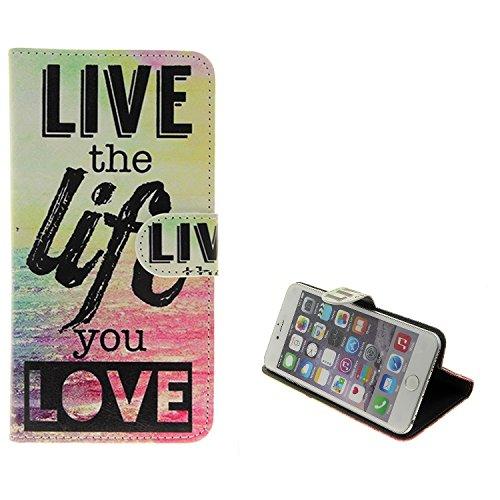 K-S-Trade Schutzhülle Kompatibel Mit Archos Oxygen 57 Schutz Hülle 360° Wallet Hülle ''live Life Love'' Schutzhülle Handy Tasche Handyhülle Etui Smartphone Flip Cover Standfunktion (1x)