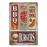 shovv Metallblechschild Hot Dog Burger Pommes Popcorn