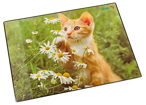 Läufer 46636 Schreibtischunterlage Katze mit Blume, 53x40 cm, rutschfeste Schreibunterlage für Kinder, verschiedene Motive, mit transparenter Seitentasche