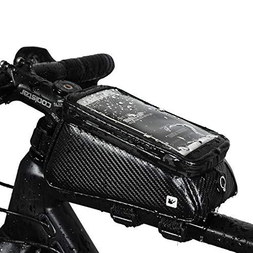 Bolsa de Bicicleta Impermeable Bolsa Bici con Pantalla Táctil con Correas Reflectantes Seguras para Todas Las Bicicletas con Cuadro Y Soporte GPS Bicicleta