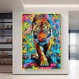 Graffiti Art Animal Tigre Pintura Arte de la Pared Póster e Impresiones de Color Agua Sala de Estar Moderna Decoración del hogar Imagen 70x90cm / 27.5'x35.4 Sin Marco