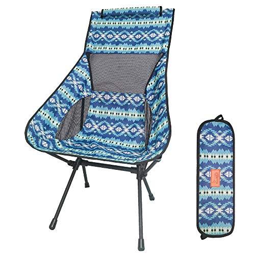 DesertFox アウトドアチェア 折りたたみ 超軽量【ハイバック】【耐荷重150kg】コンパクト イス 椅子 収納袋付属 お釣り 登山 携帯便利 キャンプ椅子008 (青/ハイバック-A)