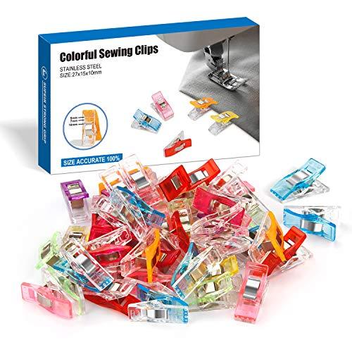 Ottemax 60 Stück Klammer Nähen Zubehöre Nähzubehör Stoffklammern 6 Farben für , Quilting Clips, Häkeln, 27 x 10 mm