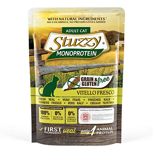 Stuzzy, Comida húmeda para Gatos Adultos, Sabor Carne de Ternera Fresca, paté monoproteínico sin Trigo ni Gluten - Total 1,36 kg (16 Sobres x 85 gr)