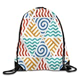 Dalylb Sacs à Dos,Sacs de Sport,Sacs à Cordon Retro Pattern Symbols of Four Elements Air Water Fire and Earth Exotic Drawstring Gym Sack Sport Bag for Men and Women