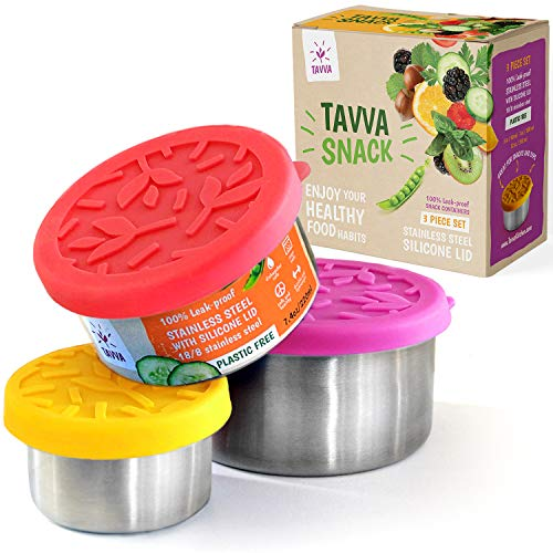 TAVVA Stainless Steel Food Containers - Plastic Free | Leakproof Silicone Lids | Reusable Containers | Spill Proof in Lunch Bags and Kids Lunch Boxes, Easy to Open [Set of 3]