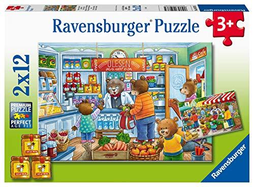 Ravensburger Kinderpuzzle 05076 - Komm, wir gehen einkaufen - 2 x 12 Teile