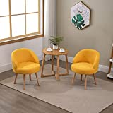 Set of 2 Yellow Fabric Occasional Armchairs Tub Chairs Small Decor for Kids Bedroom, Pair Living Room Sofa Side Chairs with Backrest Lounge Hallway Soft Linen Upholstered Seat with Solid Wood Legs