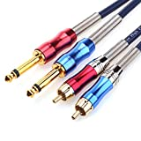 DISINO Dual 1/4 inch TS to Dual RCA Stereo Audio Interconnect Cable Patch Cable Cords -6.6 ft