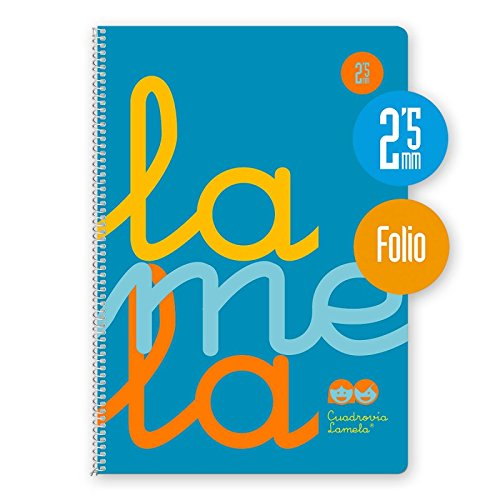Cuaderno Espiral Fluor Lamela Fº 80 Hojas 90 gr. Cuadrovía 2,5mm. (Azul)