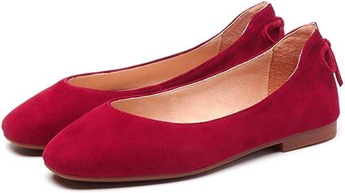 mujeres Punta rojoonda Ballets Color sólido Cómodo Antideslizante Mocasines de Moda zapatos de Barco Planos