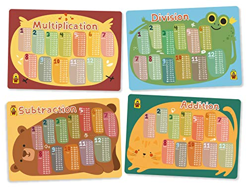 UNCLE WU Kids Math Educational Placemats - Math Set Bundle Learning Placemats: :Multiplication,Division,Subtraction,Addition (Pack of 4)