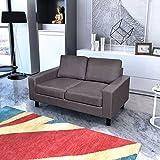 Sofá de 2 plazas, tela gris oscuro, marco de madera, sofá cama, sofá acolchado, tamaño 150 x 87 x 81 cm (ancho x profundidad x alto)