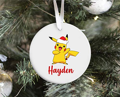 Pika-chu Christmas, Pika-chu Christmas Decoration, Po-kemon Ornament, Ceramic Christmas Ornament, Personalised Christmas Ornament, Personalized