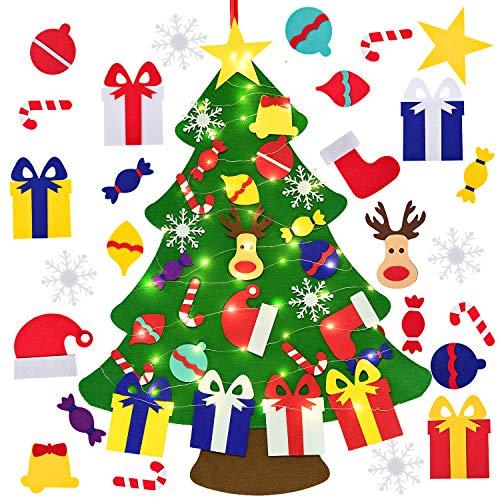 YQing Feltro Albero Natale, 3.3ft Albero di Natale in Feltro Decorativo Fai da Te 26 Pezzi di Ornamenti per Bambini Regali di Capodanno Porta di Natale Murale