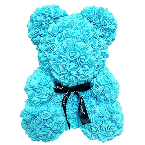 Blue Rose Teddy Bear Artificial Flower Never Withered Rose is The for Christmas, Mother's Day, Valentine's Day, Birthday and Anniversary 。 (10 inches)