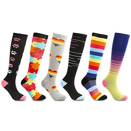 6 Pairs Compression Socks for Women & Men, Medical Graduated Compression Sock 20-30 mmHg for Running, Athletic Sports, Flight Travel, Nurses, Maternity Pregnancy, Shin Splints, Edema, Varicose Veins