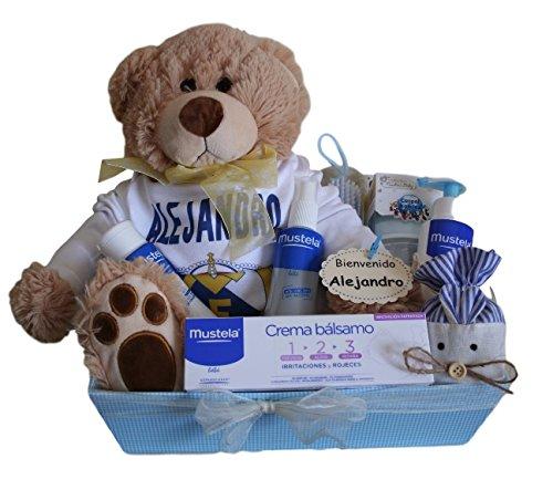 Canastilla regalo para bebé Real Madrid Mustela, body personalizado Real Madrid, colonia Mustela, gel de baño Mustela, loción Mustela, crema bálsamo Mustela