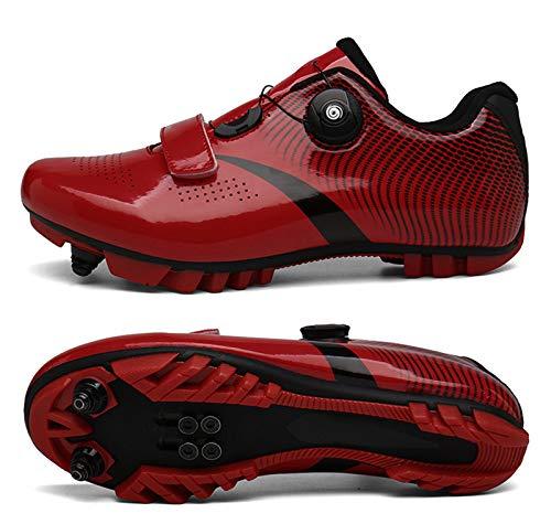 Unisex MTBlocking Fahrradschuh, Mountainbike Rennrad, atmungsaktiv, athletische Schuhe, professionell, selbstsichernd, für Radfahren, Wandern (41, Rot)