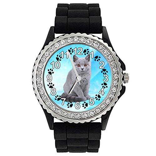 Timest - Gato Británico de Pelo Corto - Reloj de Silicona Negro para Mujer con piedrecillas Analógico Cuarzo SGP1787