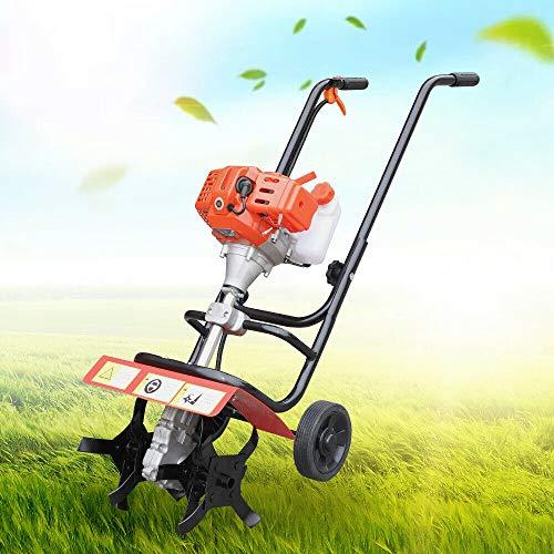 YIYIBYUS 52CC 2 Stroke Gas Powered Tiller Cultivator, Plant Garden Farm Tilling Tool,Hand-Pull Recoil