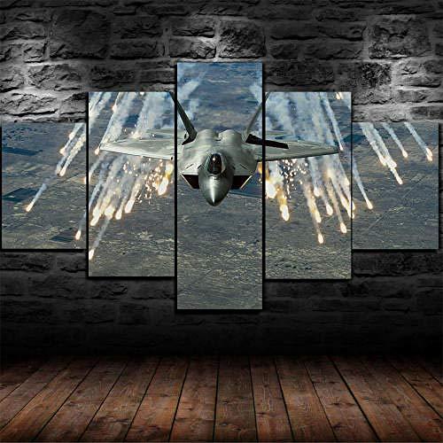 Quadro Multipannello Di 5 Pannelli, Quadro Su Tela 5 Pezzi, Stampa Artistica, Moderno Canvas 125X60Cm,Aereo Militare Lockheed Martin F-22 Raptor Pronto Appendere