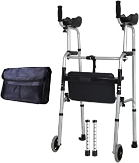 Walker Rollator Walker Rolling Walkers Fold Rollator Rollator with Arm Support and Seat Walkers for Seniors Aluminum Alloy Walkers Crutch Toilet Handrail (Color : Silver, Size : 54 * 52 * 116cm)