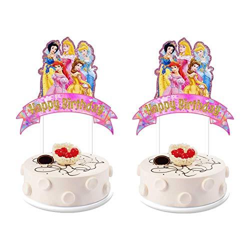 SHANFAA 2 Piezas de Suministros de Decoraciones de Toppers de Pastel de Doble Cara de Princesa de Disney, decoración de Pastel de Feliz cumpleaños Rosa para Fiesta de niños