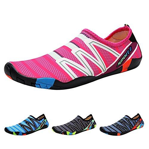 Qimaoo buty do wody, męskie i damskie buty do kąpieli, buty do pływania, szybkoschnące, oddychające, antypoślizgowe buty do wody, - Upgrade Rosa - 41 EU