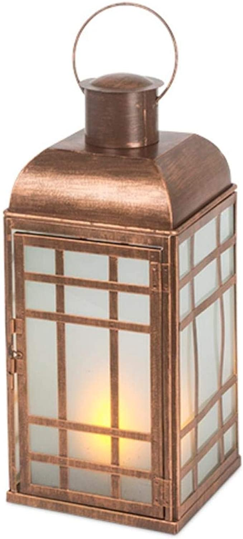 Everlasting Glow 44228 14.75  Copper FireGlow Lantern Christmas, 6.25InL x 6.25InW x 14.75InH