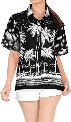 LA LEELA Women's Hawaiian Shirt Relaxed Fit Tropical Beach Shirt S Black_X118