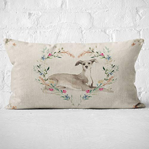 Mancheng-zi Italian Greyhound Throw Pillow Cover, Dog Lover Gifts, Italian Greyhound Lovers Gifts, Italian Greyhound Mom Gifts, 20X12 Inch DogLinen Cushion Cover Decoration for Sofa Couch Bed