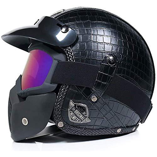 CZLWZZD Motorrad-Halbhelm, Motorrad-Cruiser Chopper Mattschwarzes PU-Leder 3/4 Motorrad-Fahrradhelm Vintage-Helm und Schutzbrille Maske,DOT Approved