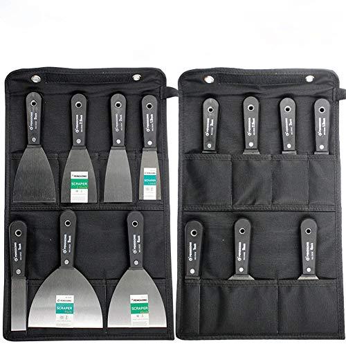 7-teiliges Spachtel-Set,Schaber Spachtel Set,Schaber und Kittmesser set,50# Stahlkittmesser Wandschaber Anti-Rutsch-Kunststoffgriff mit Aufbewahrungstasche, Multi-Standard-Lackierputzmesser