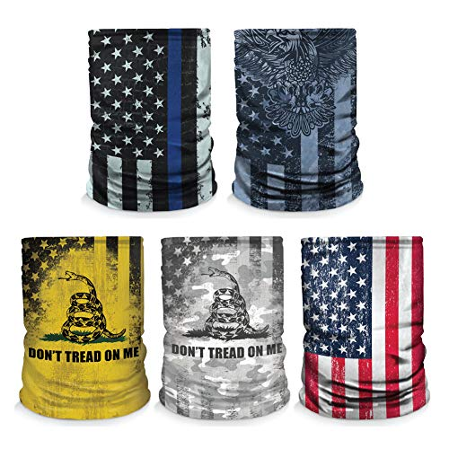 Controller Gear [5 Pack] Neck Gaiter - Face Mask - Made in USA. Thin Blue Line/Navy Eagle/Don't Tread On Me/US Flag - Not Machine Specific