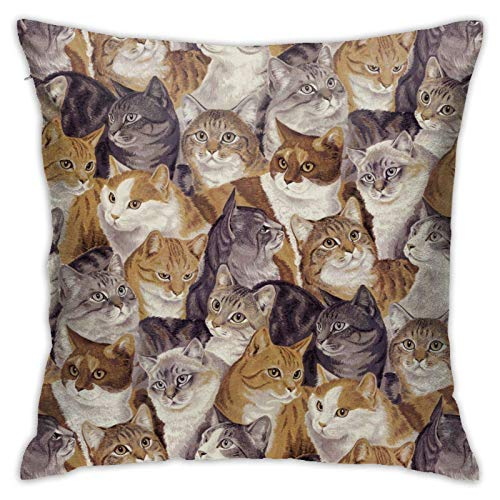 huatongxin Packed CatsThrow Fundas de Almohada Fundas de Almohada cuadradas para sofá, sofá, Cama, Patio, Hotel Diseño único Packed Cats Fundas de Almohada 18 x 18 Pulgadas