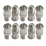Lala Smill F Jack to F Quick Push On Plug for RVers Satellite Dish Cable TV Internet RV Trailer Coax Cable - 10 pcs F Type Male to Female Coax connectors Adapter
