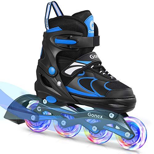 Gonex Inliner für Kinder Verstellbar, 4 Größenverstellbare Inliner Skates für Mädchen Jungen Damen, Leucht PU Inlinerskates Räder
