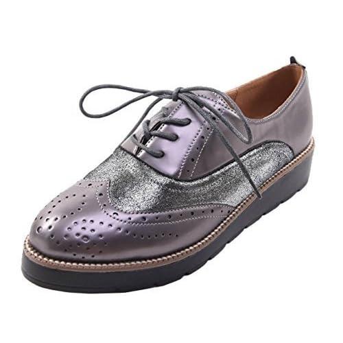 eb622cd3ff5 SHU CRAZY Womens Ladies Metallic Lace Up Flat Wedge Office Work Casual  Platform Brogue Pumps Shoes