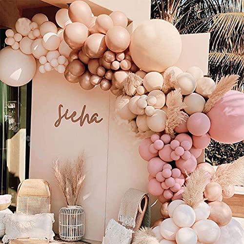 158pcs Blush Nude Balloon Arch Garland Kit Wedding Decoration Sage Pink Apricot Balloon Baby Shower Decor