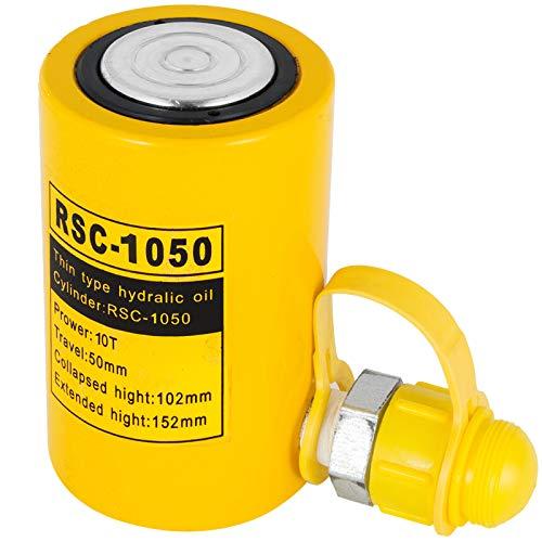 VEVOR Hydraulikzylinderheber Kapazität 10T Hydraulikzylinder 50mm Hub einfachwirkender tragbar gelb, hydraulische Wagenheber Hohlkolbenheber Hydraulikflasche 5 kg für Riggers-Hersteller