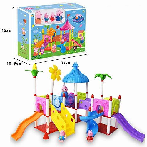 Rzf Juguetes de Juego de los niños de Dos Pisos al Aire Libre tobogán Set de Juego para niños con Cuatro muñecas y Todo el Equipo de toboganes del Parque de Atracciones