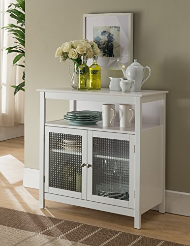 Kings Brand Furniture White Finish Wood Kitchen Storage Buffet Cabinet With Glass Doors