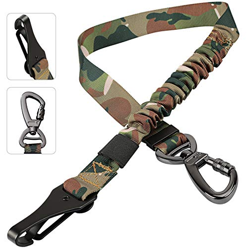 Dog Seatbelt, Updated 3-in-1Pet Car Seat Belt for Dogs, Camo Bungee Dog Car Tether with Clip Hook Latch & Buckle, Heavy Duty Dog Safety Belt Harness with Swivel Aluminum Carabiner