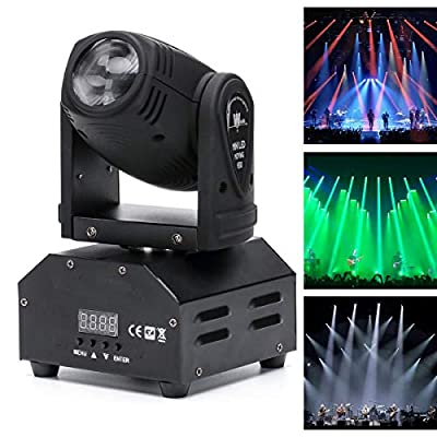 UKing Moving Head Stage Beam Light, LED Spotlight RGBW 10W 11/13CH Voice-activated DMX512 Control for Party Show DJ KTV Wedding (1 pcs)